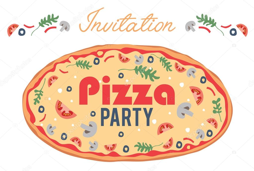 Vector Pizza Party Invitation Poster Flyer Card Dinner