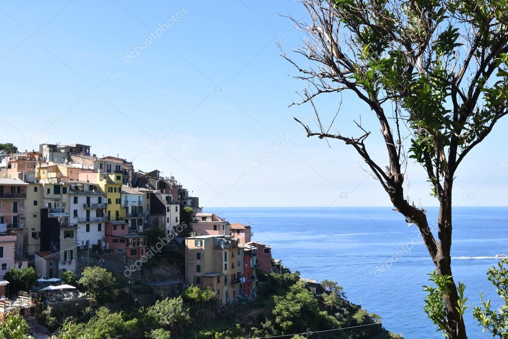 Corniglia town on hill in Italian Riviera