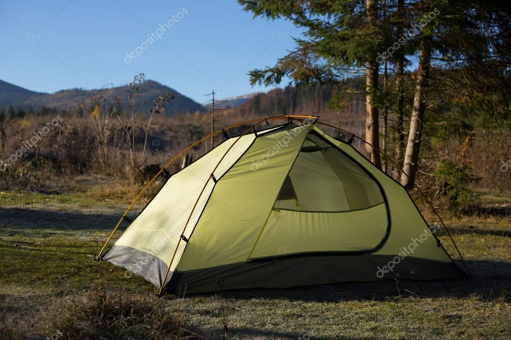Camping area with multi-colored tents in forest.