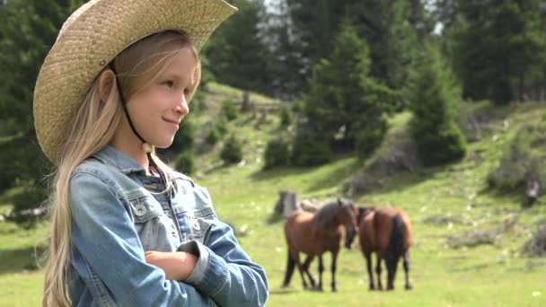 Farmer Girl Pasturing Horses, Cowboy Child with Animals on Meadow, Prairie Rustic Child Playing Outdoor in Mountains