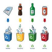 Fotografia Bidoni per rifiuti di carta vetro plastica metallo