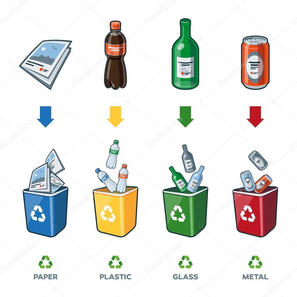 Vector basura papel contenedores de reciclaje para papel vidrio pl stico metal basura - Contenedores de basura para reciclaje ...