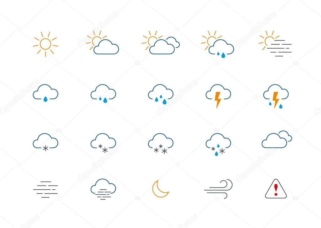 Thin weather colour icon set