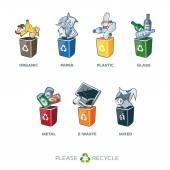 Fotografia Bidoni della spazzatura di segregazione per bio carta vetro plastica metallo rifiuti misti