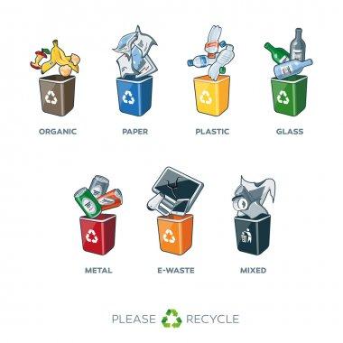 Trash Segregation Bins for Organic Paper Plastic Glass Metal Mixed Waste