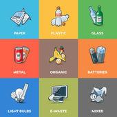 Fotografie Kategorie typů na recyklaci odpadů koše