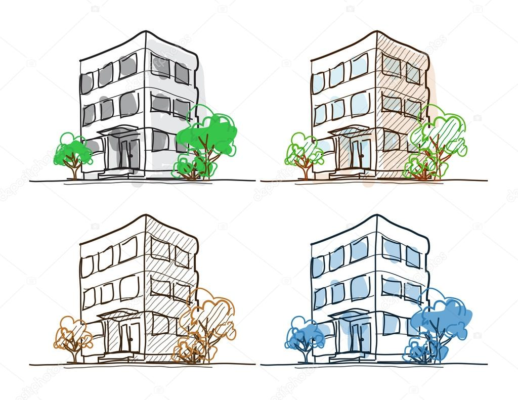 Drawings Easy Outline Cartoon Drawing Outline Vector Buildings