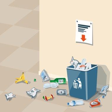 Littering Garbage around the Trash Bin