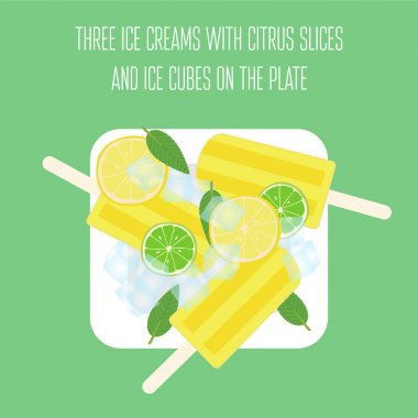Ice creams popsicles with mint leaves, citrus slices and ice cubes