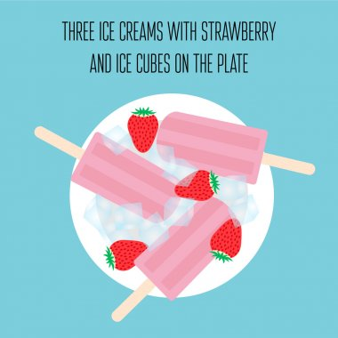Ice creams popsicles with strawberry and ice cubes
