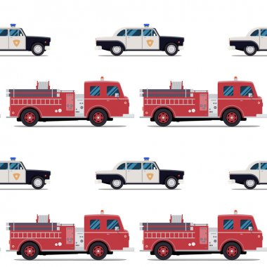 seamless pattern of the fire engine and police car.