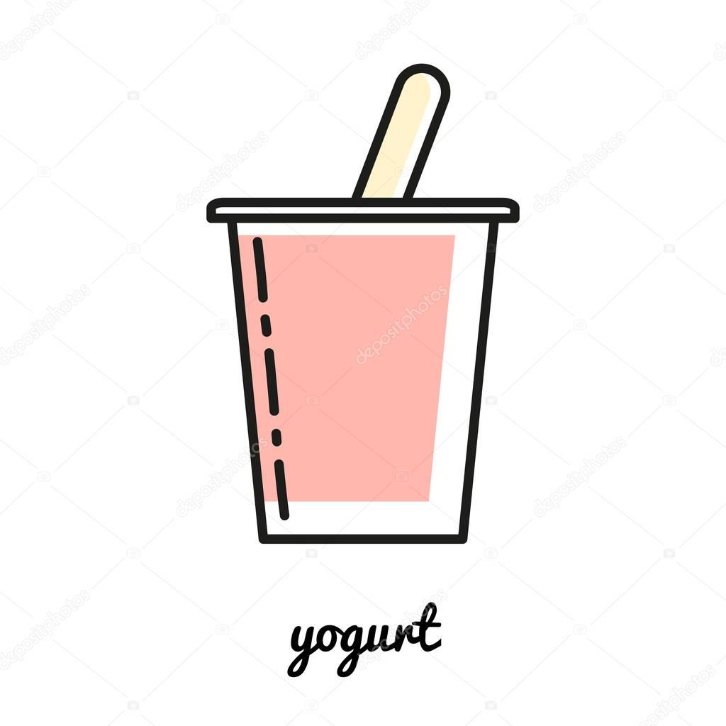 Yogurt Line Drawing : Icono de yogur arte línea elemento infografía
