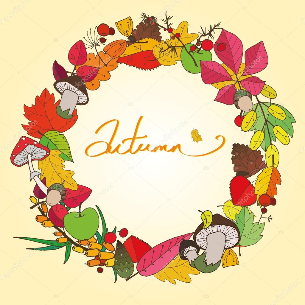 Beautiful colorful autumn wreath which consists of leaves, mushrooms, branches, cones and berries can be used as a card or greeting card