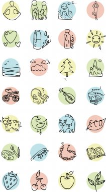 Contour set of icons on a  background themes healthy lifestyle, life, happiness, family, food, vector illustration