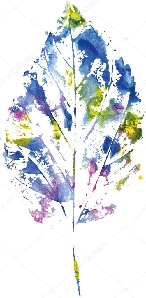 Schönes Blatt des Baumes in eine kalte blaue Farben gemalten ...