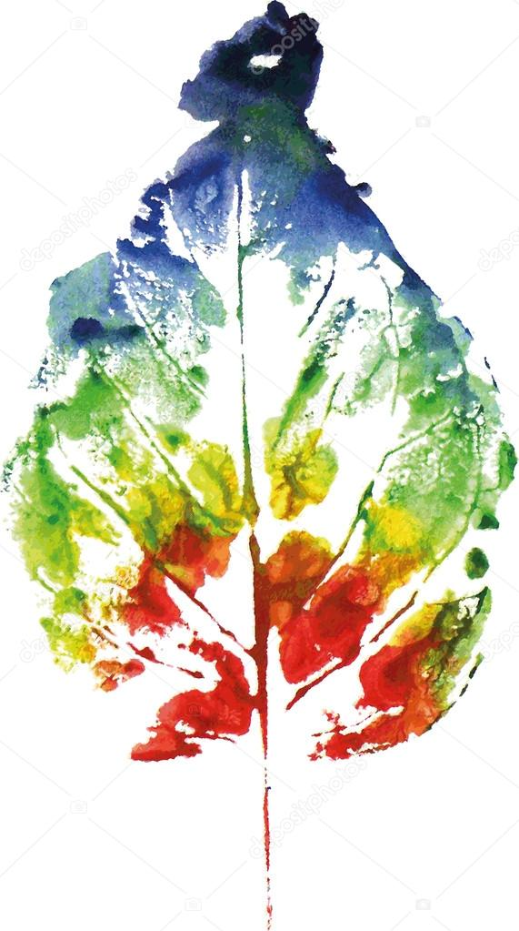Beautiful leaf of a tree  painted watercolors imprint