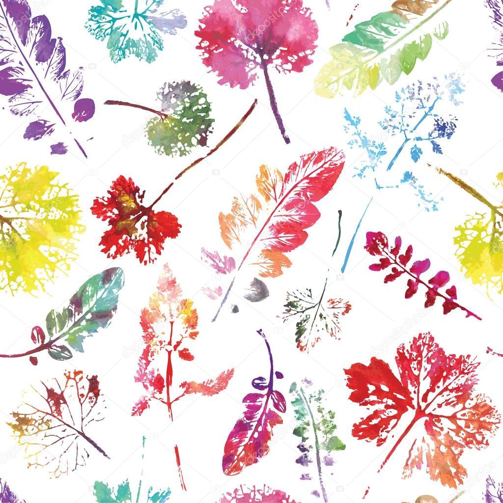 Watercolor leaves seamless pattern.