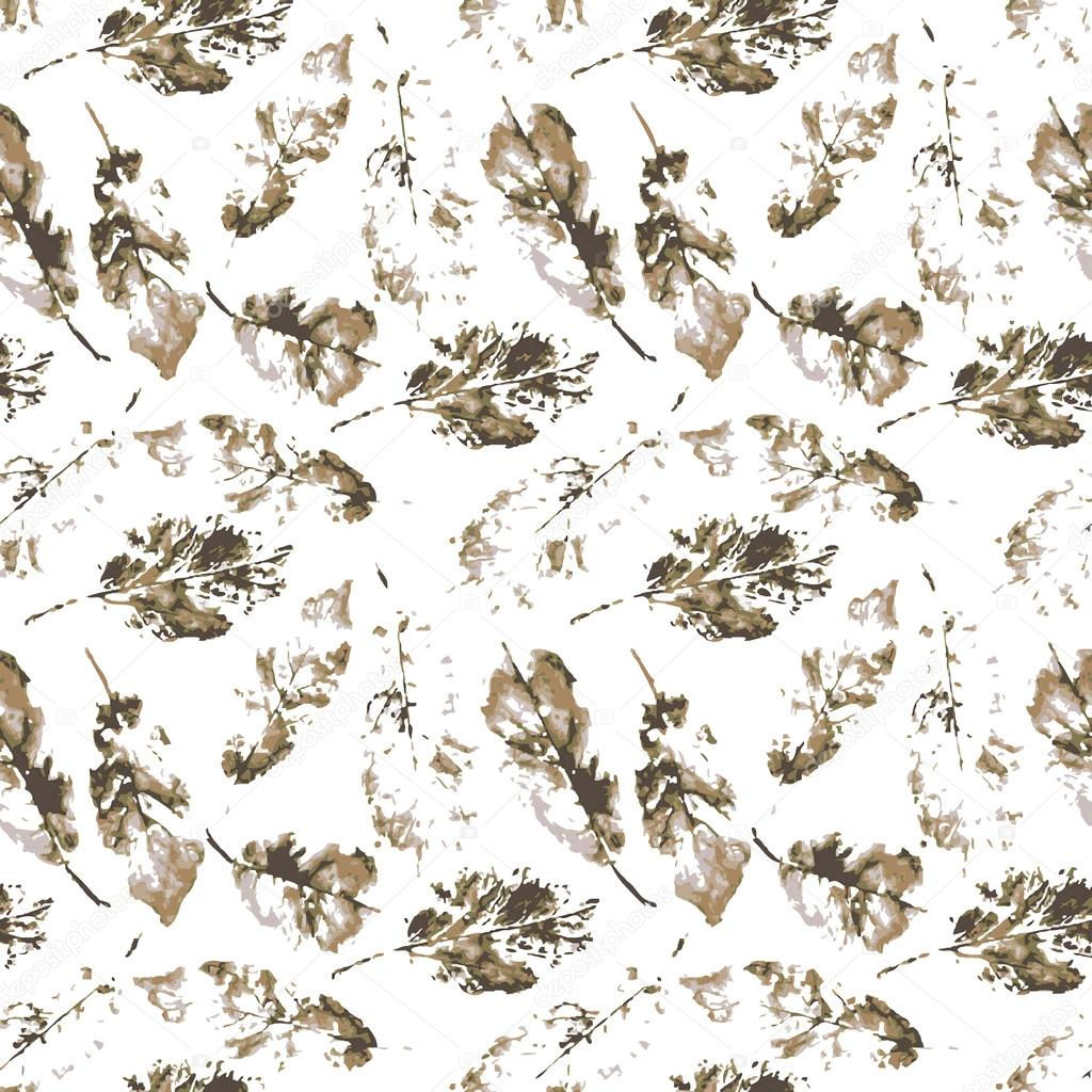 Watercolor pattern of imprint leaves seamless texture background imprint.