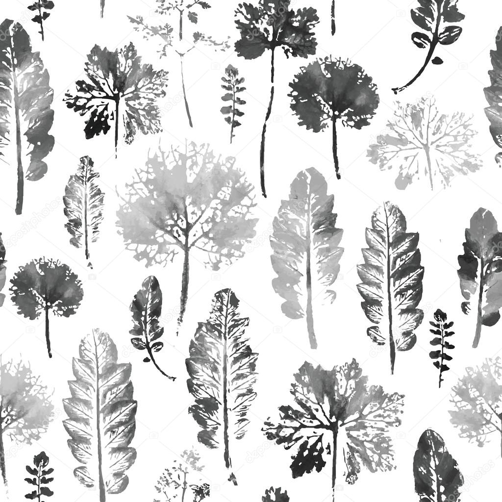 watercolor pattern of leaves seamless texture background