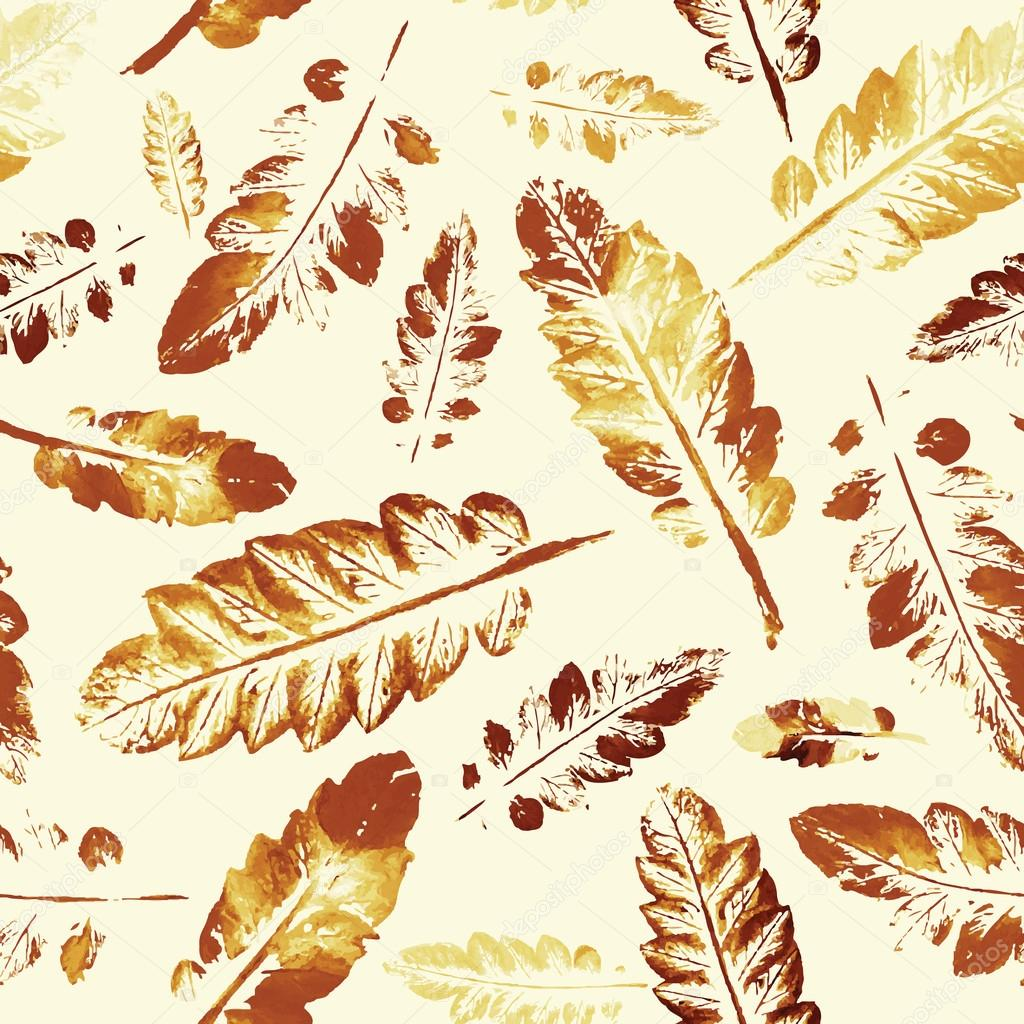 watercolor pattern of imprint leaves seamless texture background
