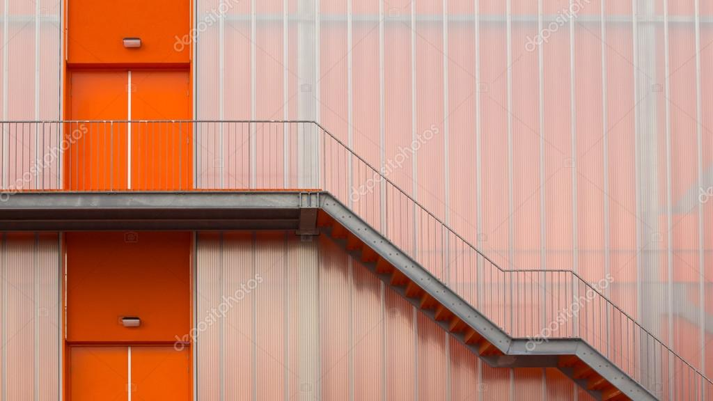 Orange Fire escape stairs