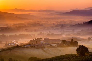 Tuscan Farms during Sunrise, Italy during Sunrise, Italy