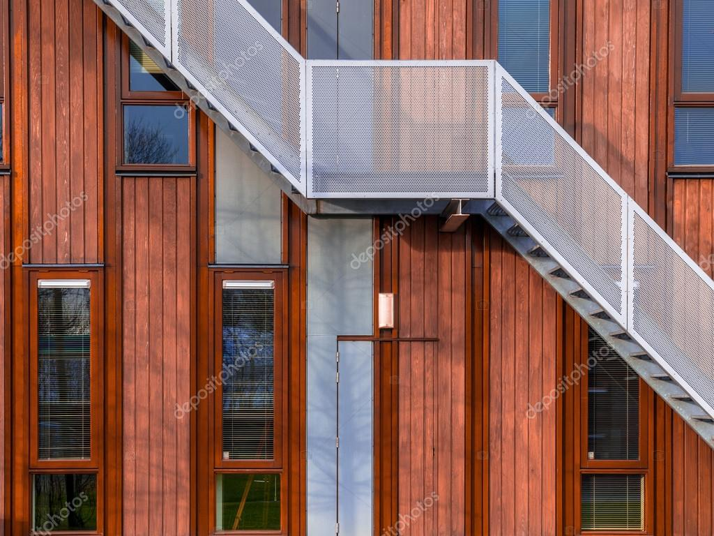 wooden office buildings. Escape Stairs On A Sustainable Wooden Office Building Background \u2014 Photo By CreativeNature Buildings