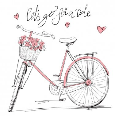Cute pink bike with flowers