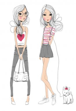 Two fashion girls with dog on white background. Vector illustration stock vector