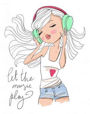 Cute girl listening to music