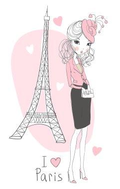 Cute girl with tour Eiffel