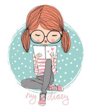 Cute girl reading a book clip art vector