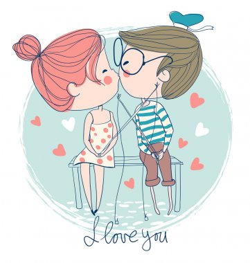 Cute couple kissing sitting on pier clip art vector