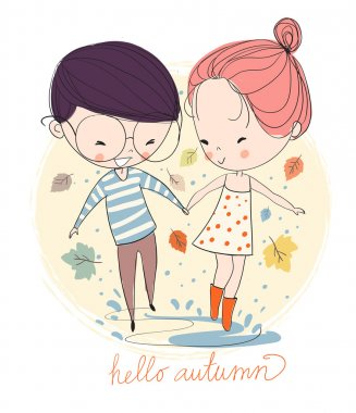 Boy and girl in love in the rain. Autumn. clip art vector
