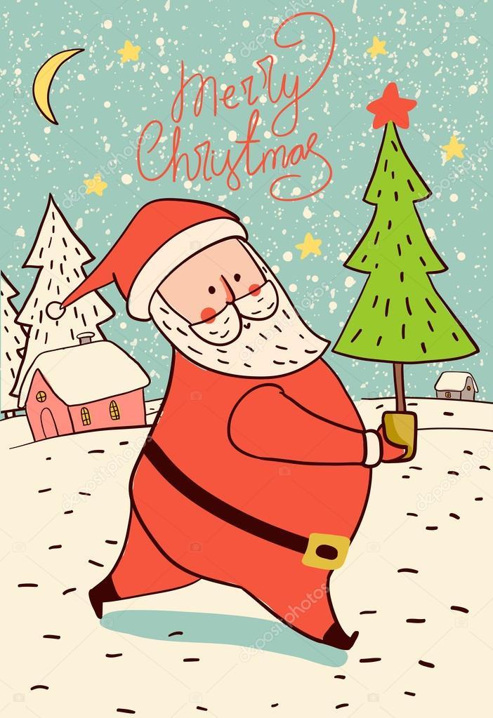 Immagini Carine Natale.Carine Babbo Natale Di Doodle Vettoriali Stock C Natalia