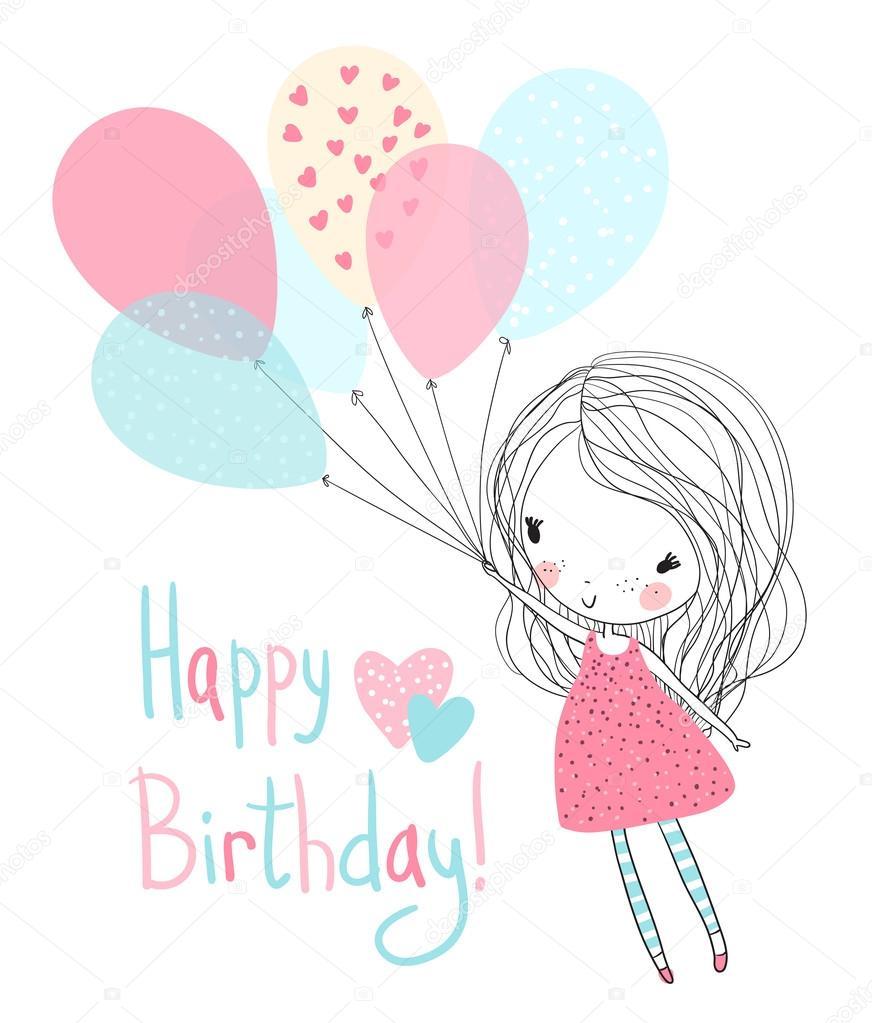 Menina Segurando Balões De Aniversário