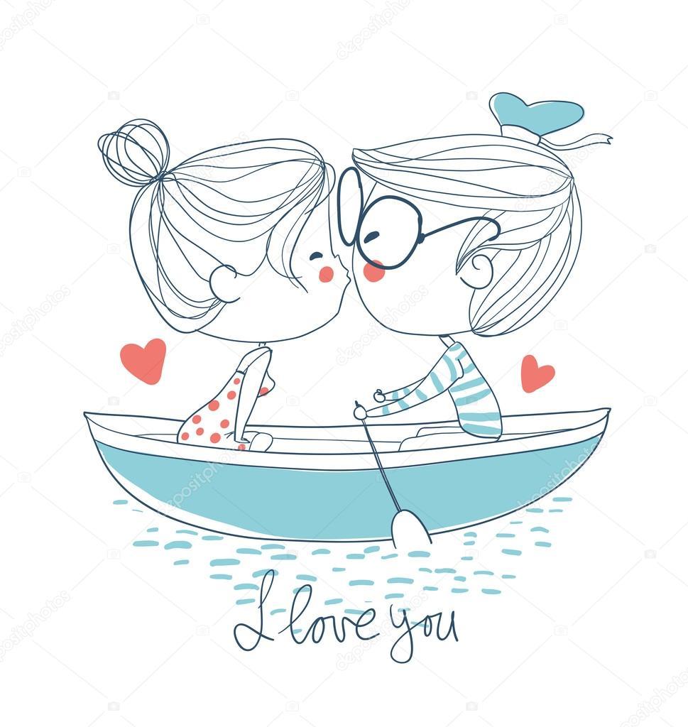 süßes Paar küssen — Stockvektor © Natalia.Skripko #90595600