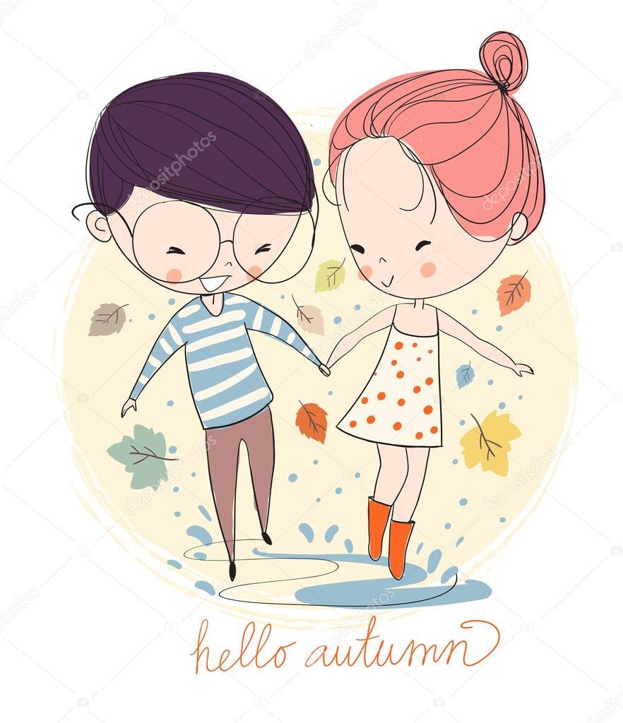 Boy and girl in love in the rain. Autumn. clipart vector