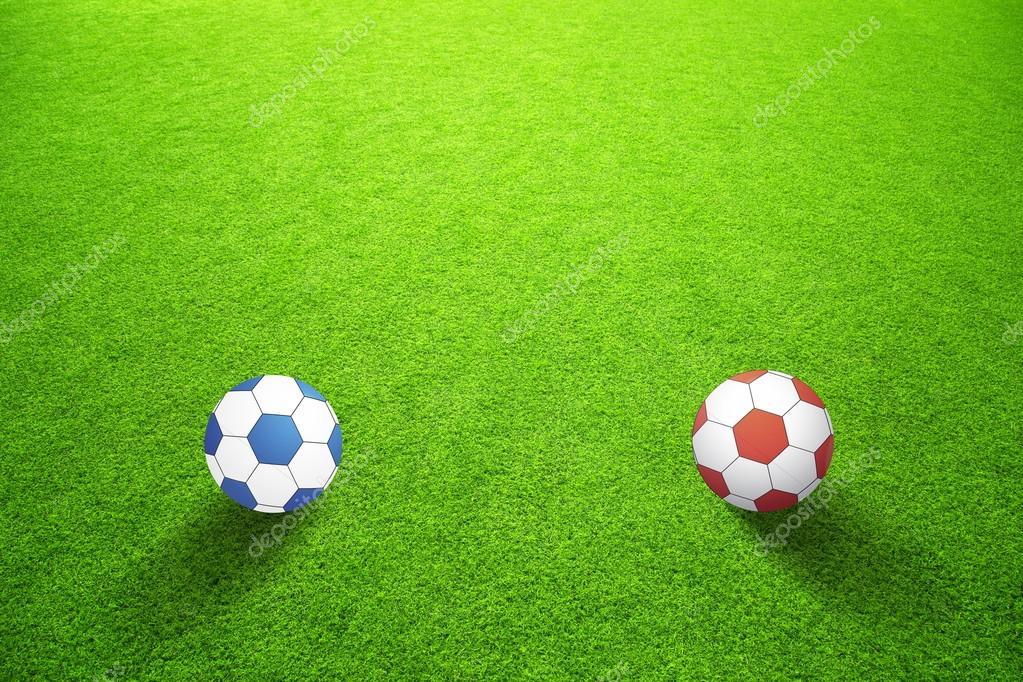 Sunny abstract artificial green grass with blue and red color soccer balls  concept background. Selective focus used. — Fotografia por robsonphoto 370e0304664e1