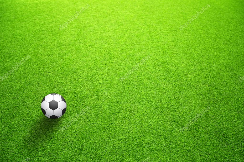 Sunny artificial green grass with soccer ball background. Selective focus  used. — Foto de robsonphoto 24fe57734871d