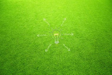 Sunny artificial green grass with light bulb arrows