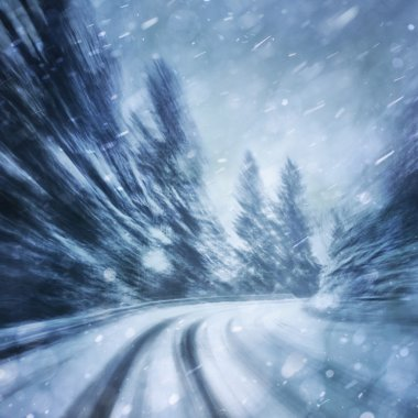 Dangerous winter snowfall road driving