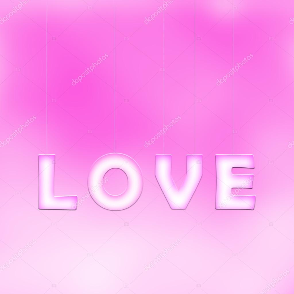 Creative Love Letters Hang On Pink Background Stock Photo