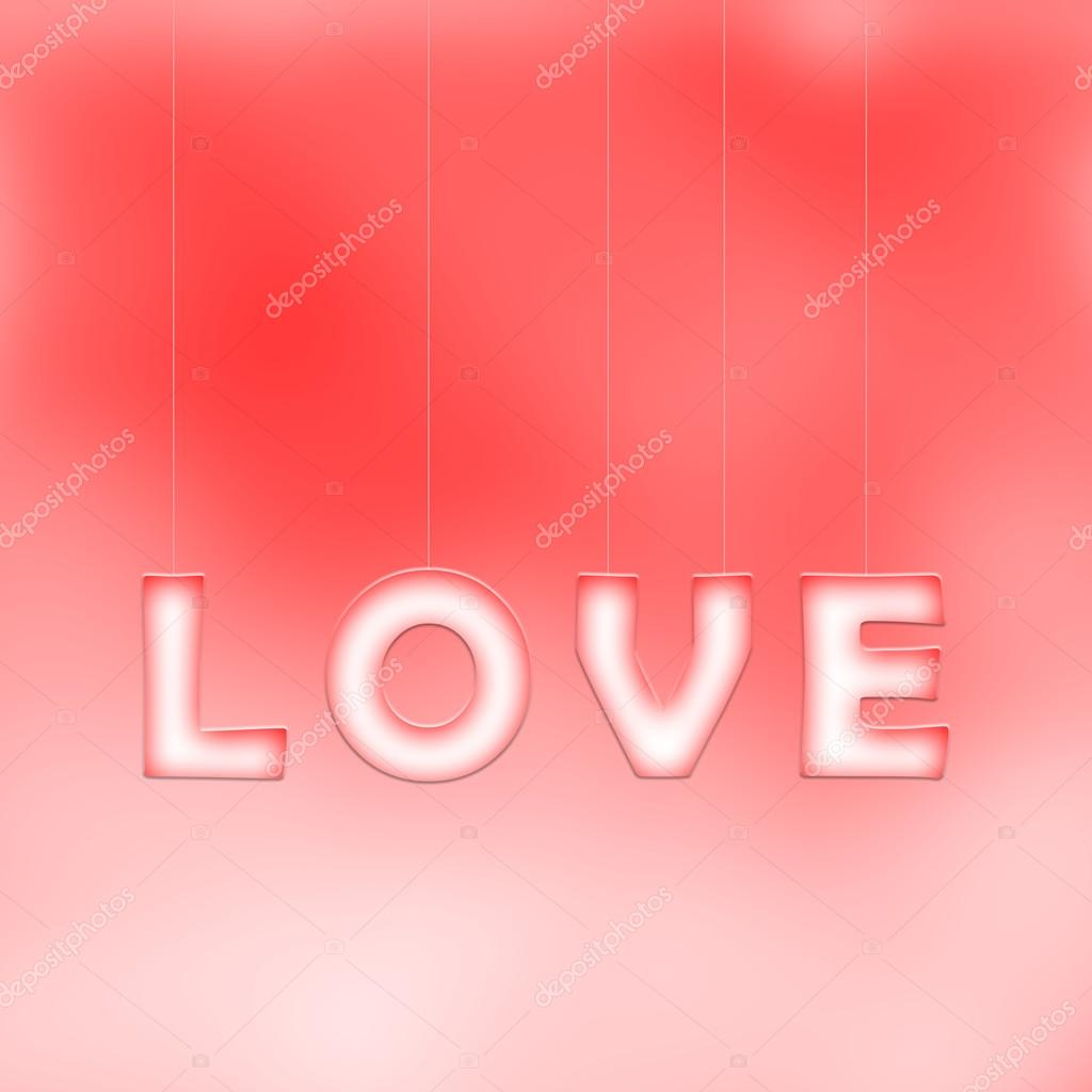 Lovely white red love word letters hang on thin ropes on bright blurred red bokeh background. Conceptual valentine day copy space illustration. stock vector