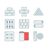 Photo Set of line icons for DIY, construction, building materials.