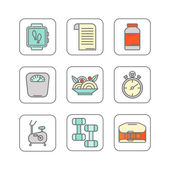 Photo Vector set of color line icons for personal trainer program