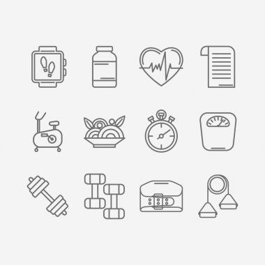 Vector set of line icons for personal trainer program.