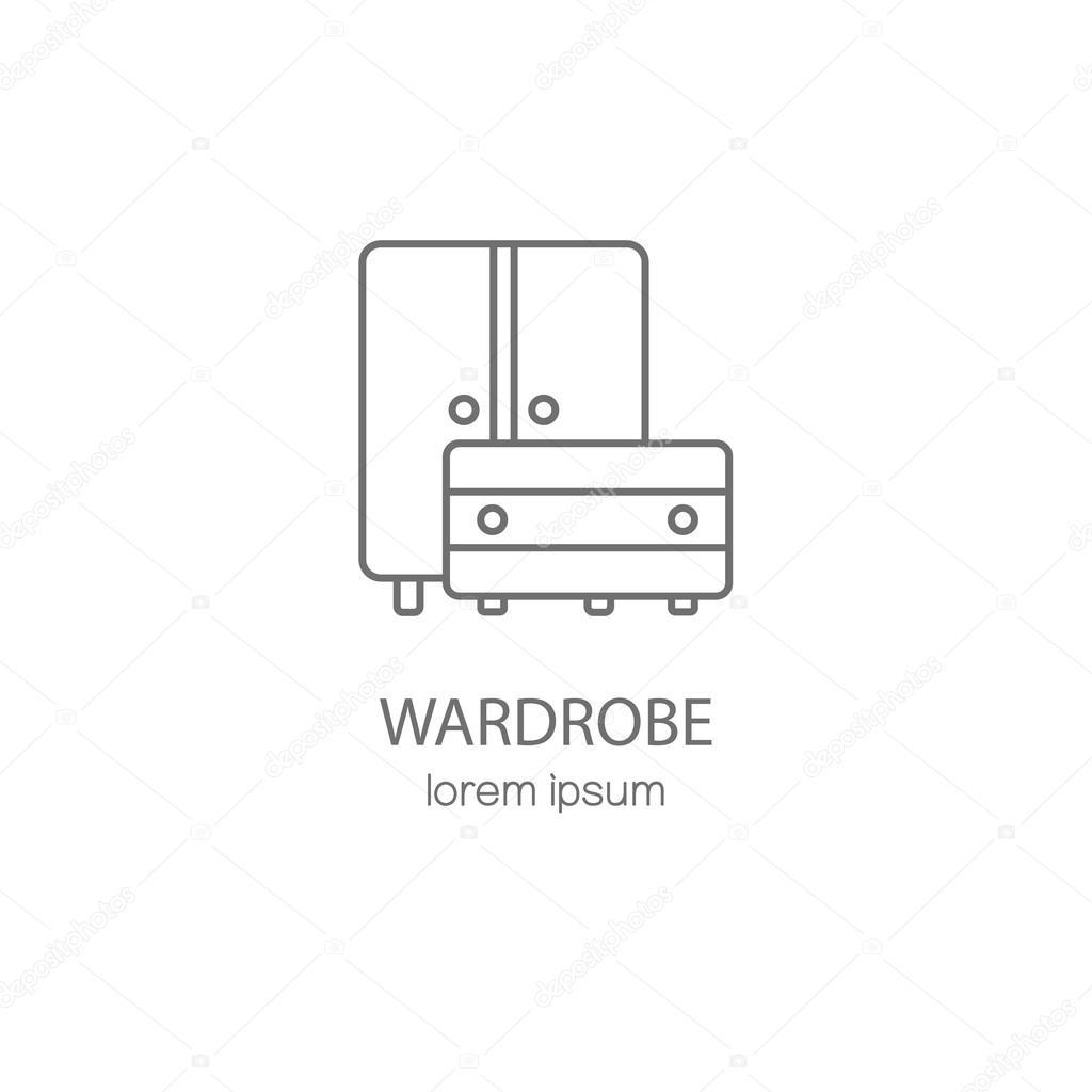 Wardrobe Wood Furniture Logotype Design Templates Stock