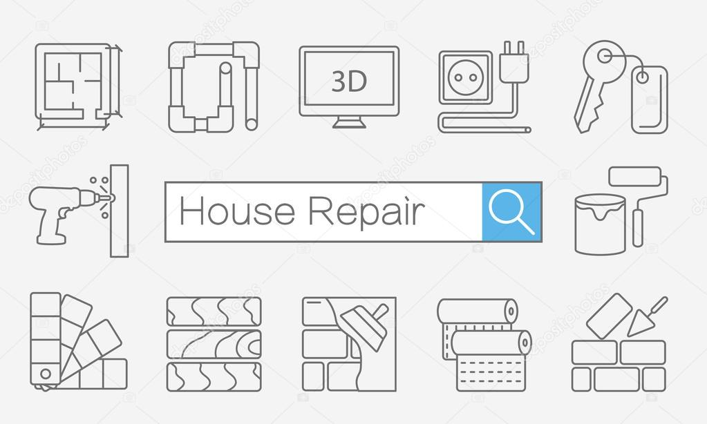 Concept of title site page or banner for home improvement