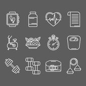 Photo Vector set of line icons for personal trainer program.